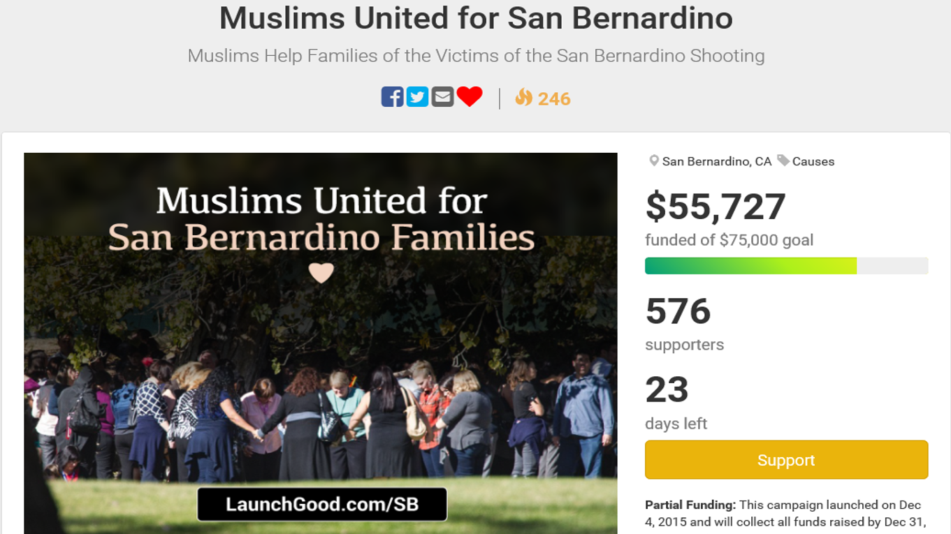 Muslims raise over $55,000 for victims families of San Bernardino